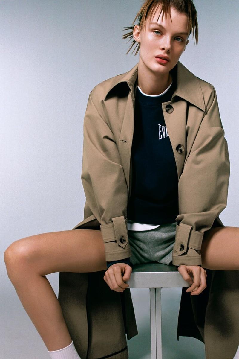Kris Grikaite models Zara x Everlast collection.