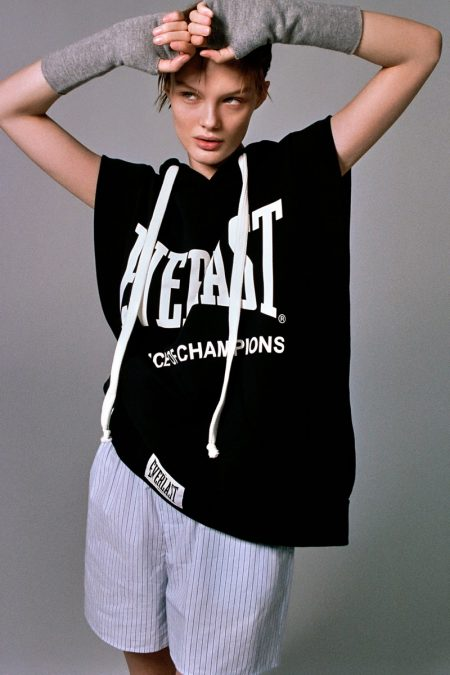 Model Kris Grikaite poses in Zara x Everlast vest.