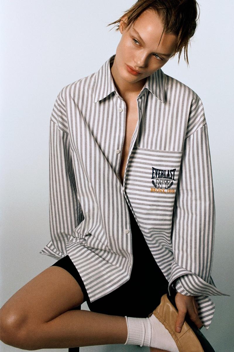 Zara x Everlast Striped Shirt.