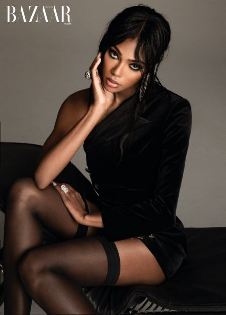 Afiya Bennett Wears Sleek Styles for Harper's Bazaar Serbia