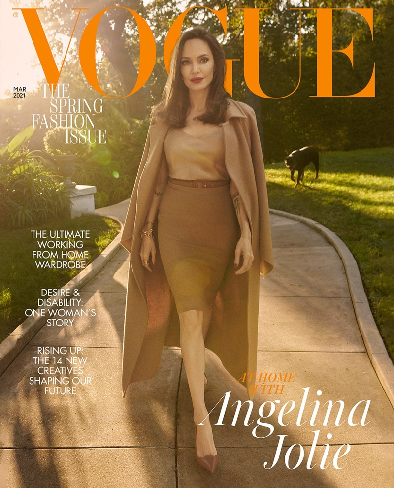Angelina Jolie on Vogue UK March 2021 Cover