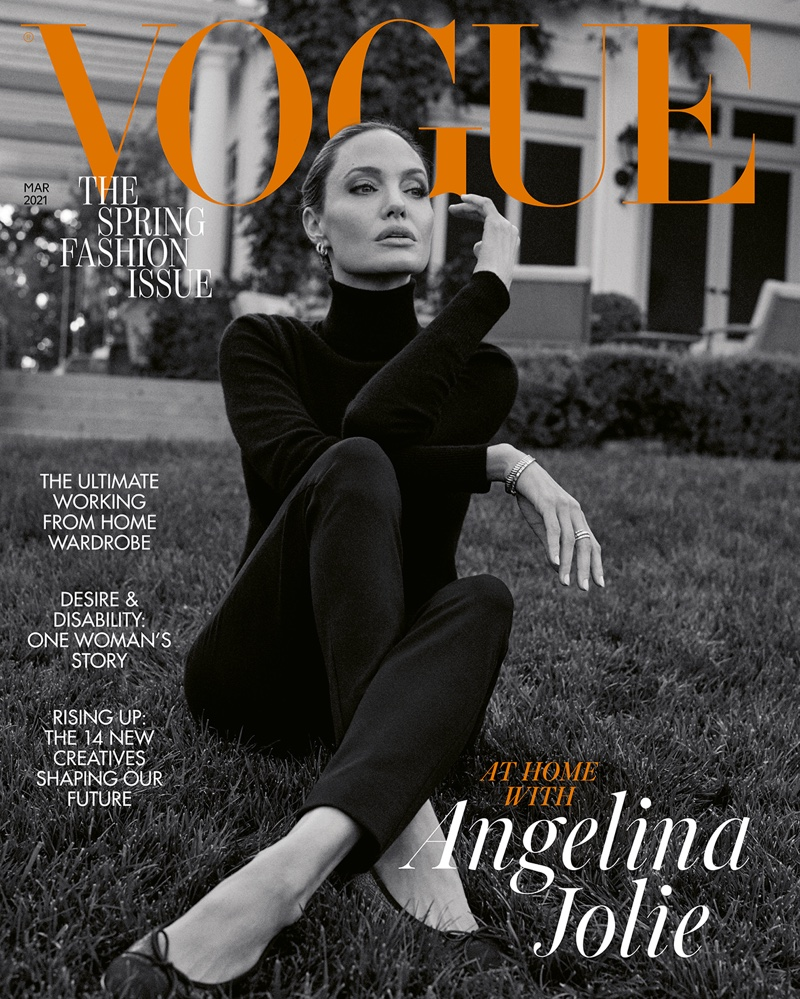 Photographed in black and white, Angelina Jolie covers Vogue UK's March 2021 issue.