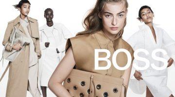 Mona Tougaard, Adut Akech, and Berit Heitmann star in BOSS spring-summer 2021 campaign.