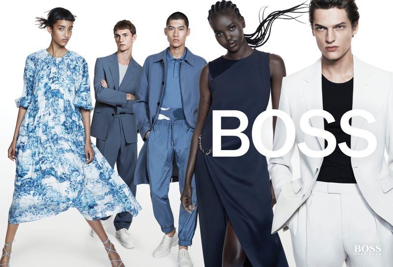 Models pose for BOSS spring-summer 2021 campaign.
