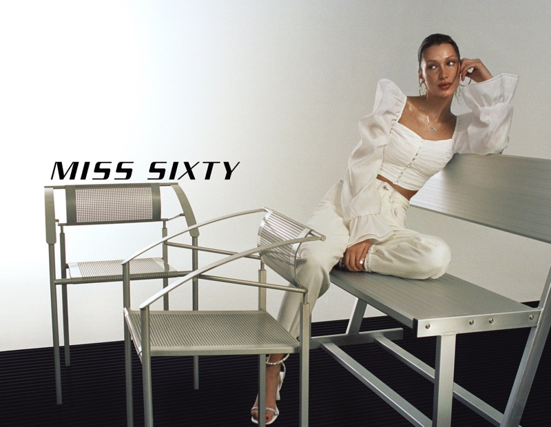 Dressed in white, Bella Hadid fronts Miss Sixty spring-summer 2021 campaign.