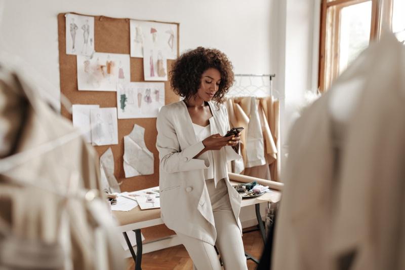 Black Woman Designer Studio Wearing Suit