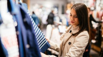 Brunette Woman Shopping Clothes