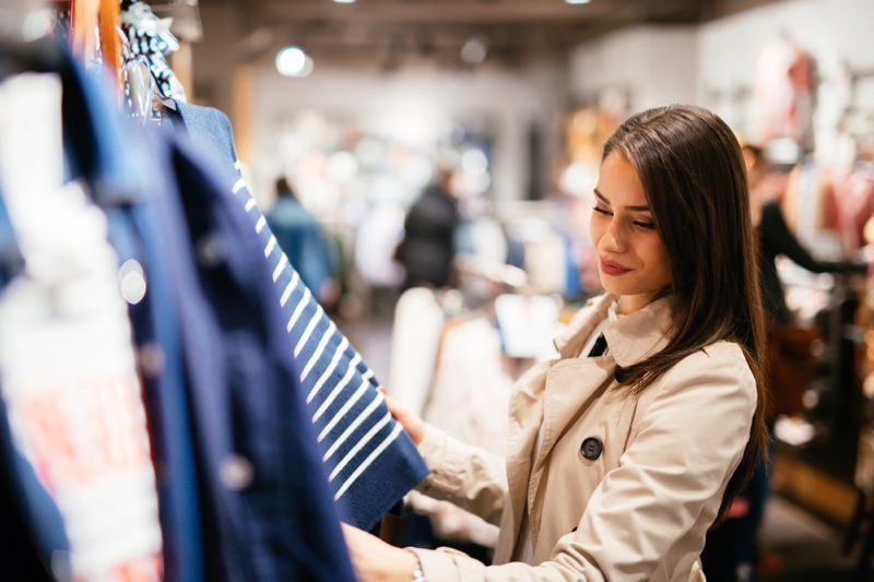Brunette Woman Shopping Clothes