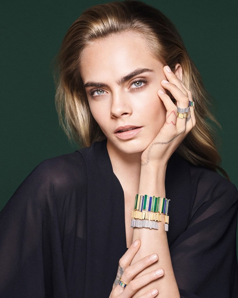 Cara Delevingne poses for Dior Gem Dior jewelry campaign.