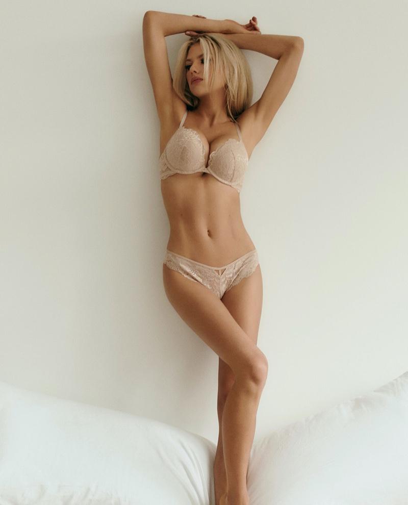 Charlotte McKinney models La Senza push-up bra and thong.