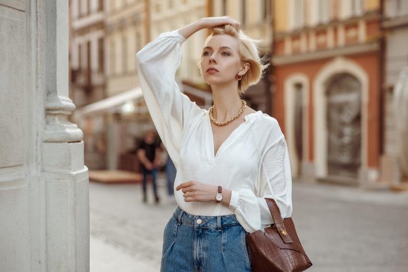 Chic Woman White Shirt Denim Accessories Street
