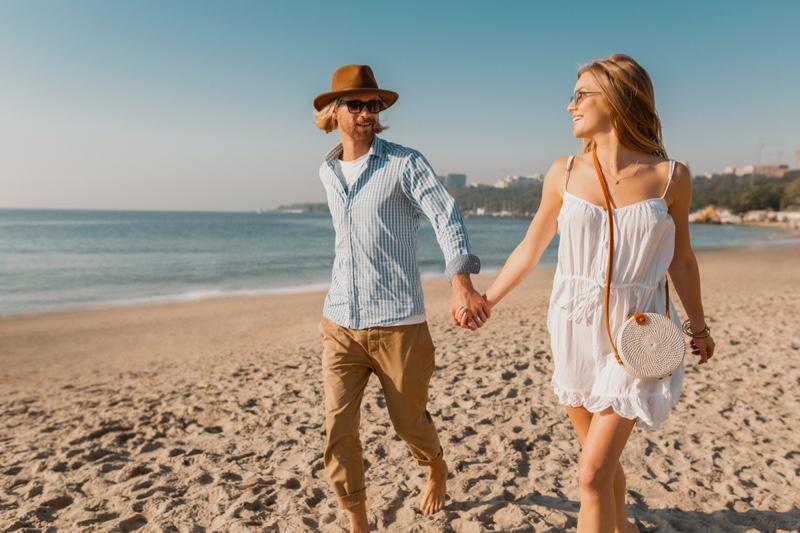 Couple Date Walking Beach White Dress Lace Trim