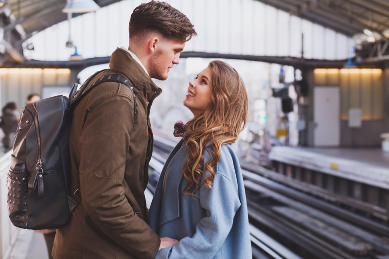 Couple Meeting Train Station Travel Long Distance