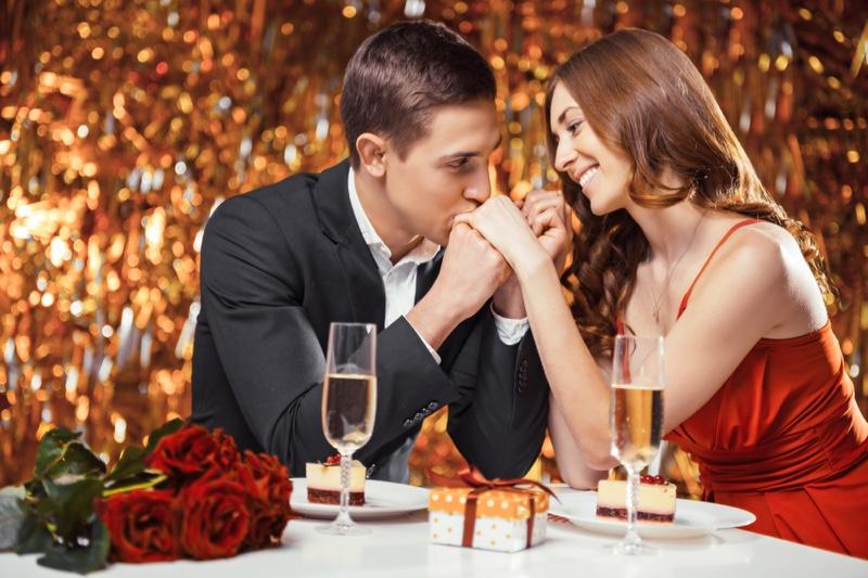 Couple Romantic Dessert Dinner Table Flowers Celebration