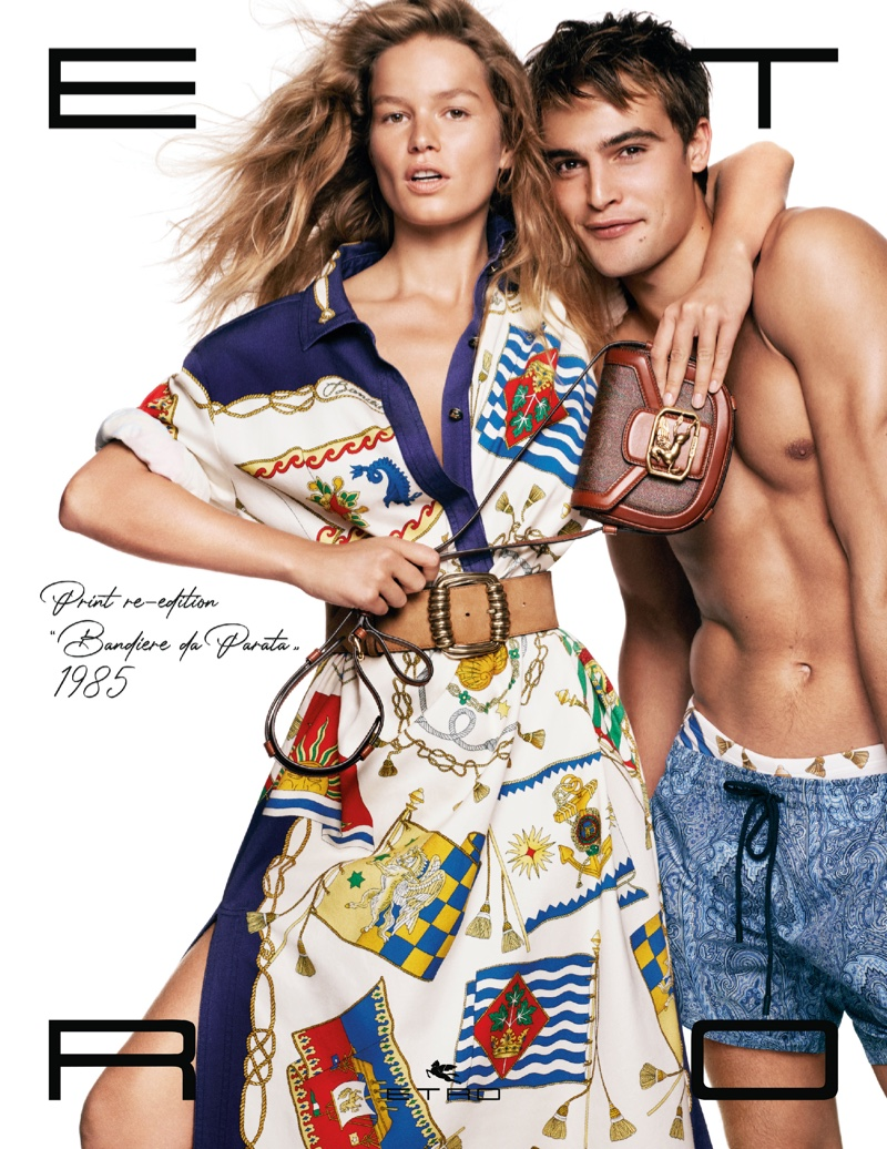 Anna Ewers and Parker Van Noord front Etro spring-summer 2021 campaign.