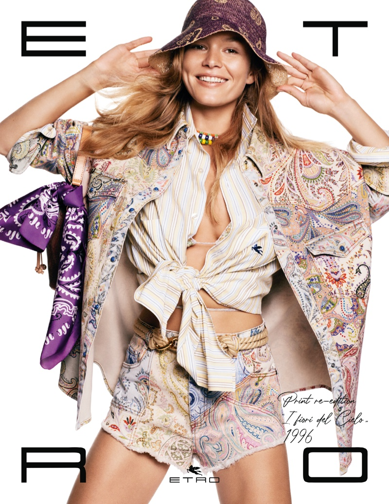 Model Anna Ewers appears in Etro spring-summer 2021 campaign.
