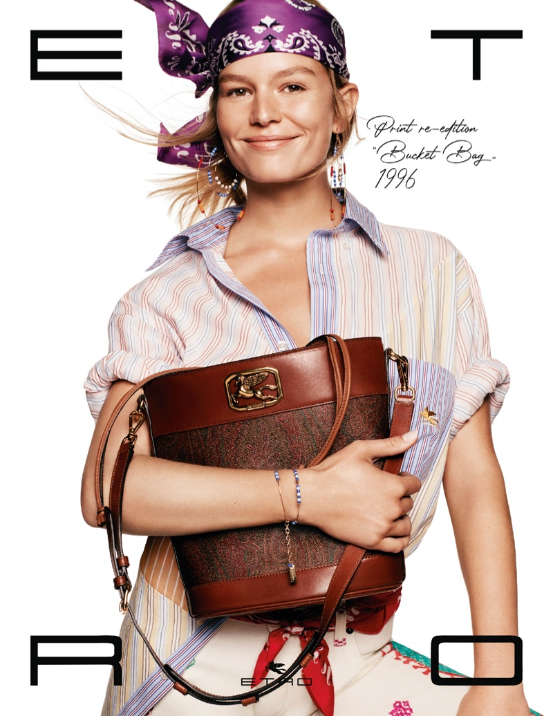 Anna Ewers is all smiles for Etro spring-summer 2021 campaign.