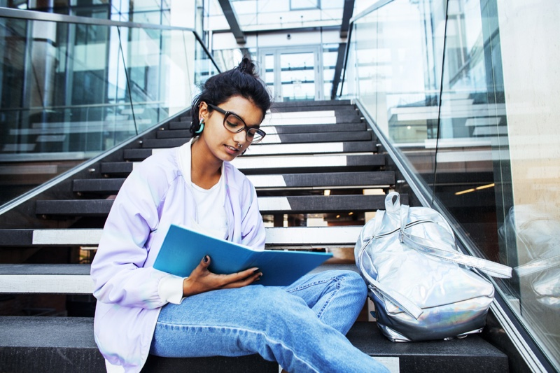 Female Student Studying Stairs Alternative Style