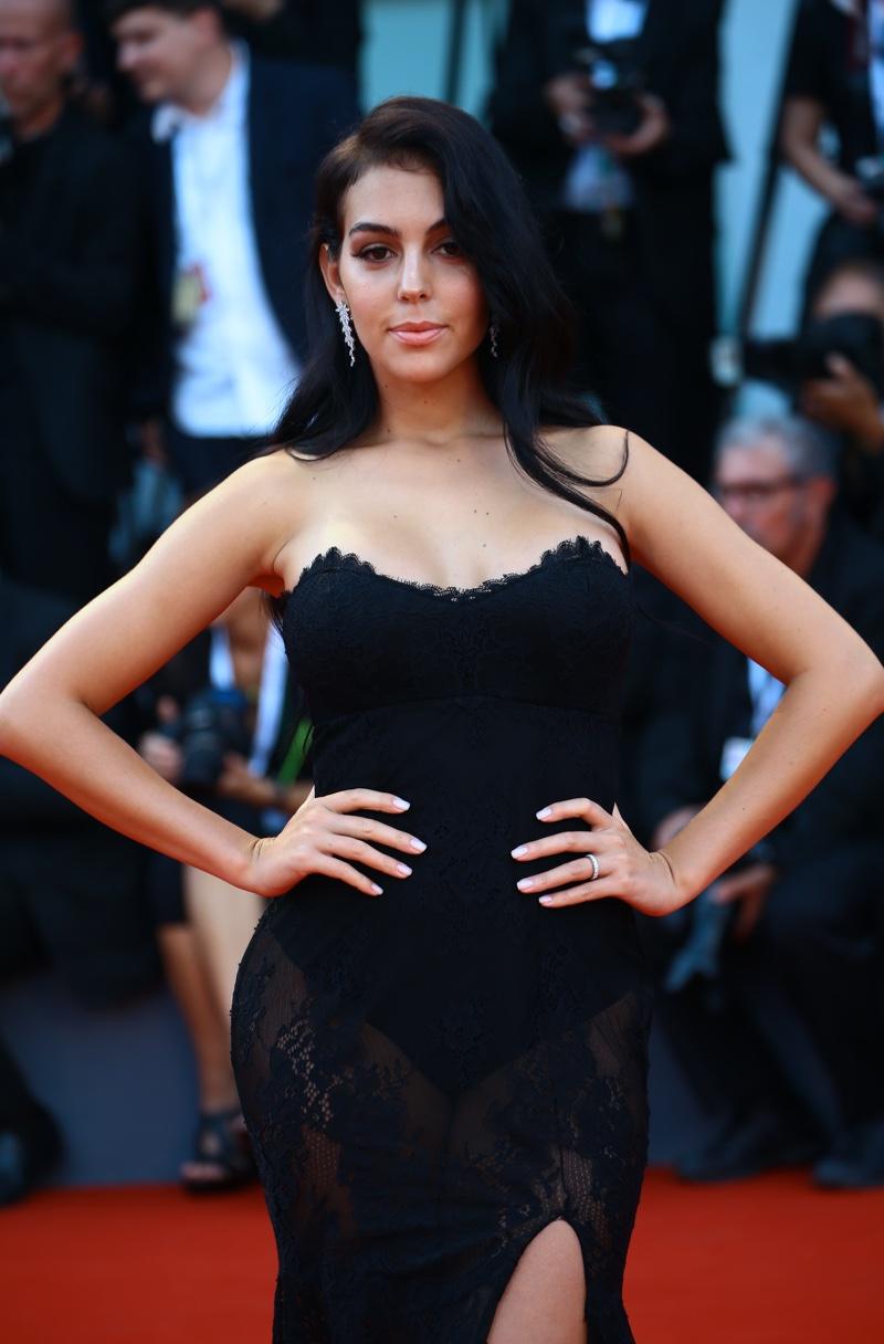 Georgina Rodriguez Venice Film Festival Black Dress