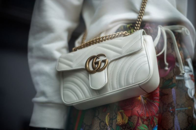 Gucci White Gold Double G Hardware Handbag