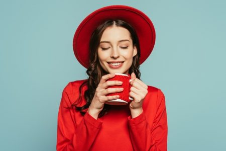 Happy Model Red Top Coffee Mug hat
