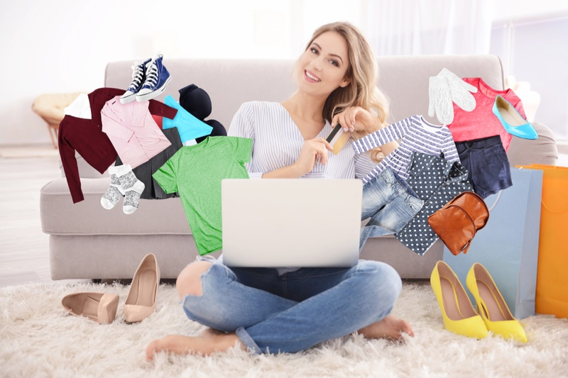 Happy Woman Online Shopping Concept Laptop