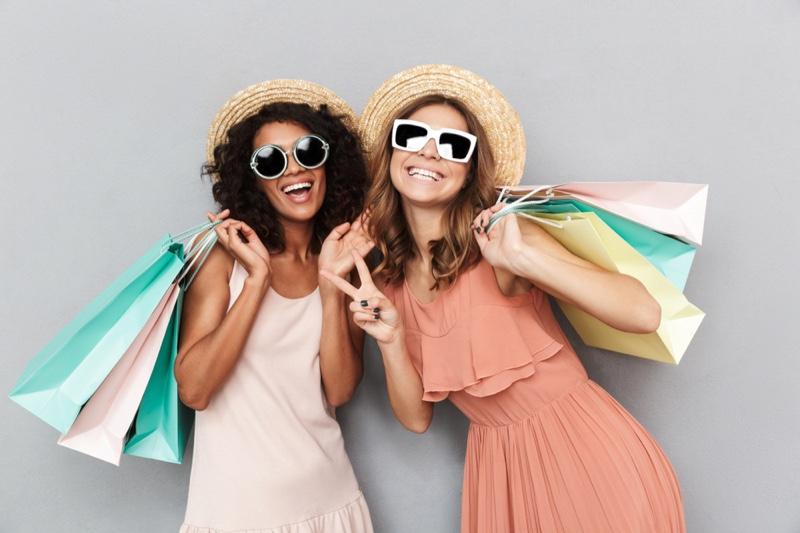 Happy Women Shopping Bags Sun Dresses