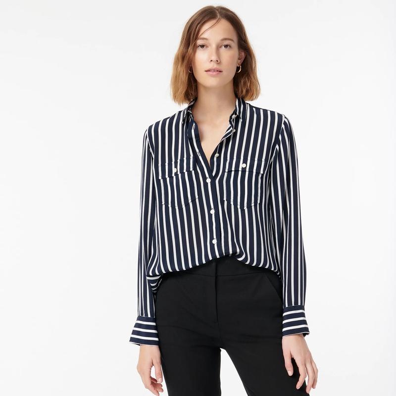 J. Crew Classic-Fit Silk Shirt in Stripe $148