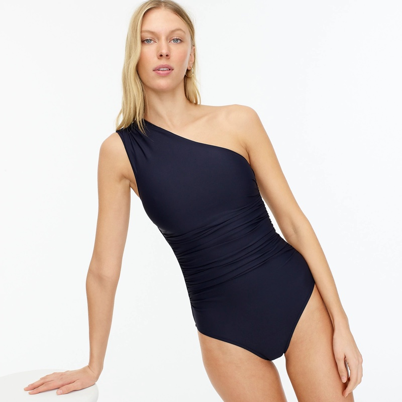 J. Crew Ruched One-Shoulder One-Piece in Navy $118