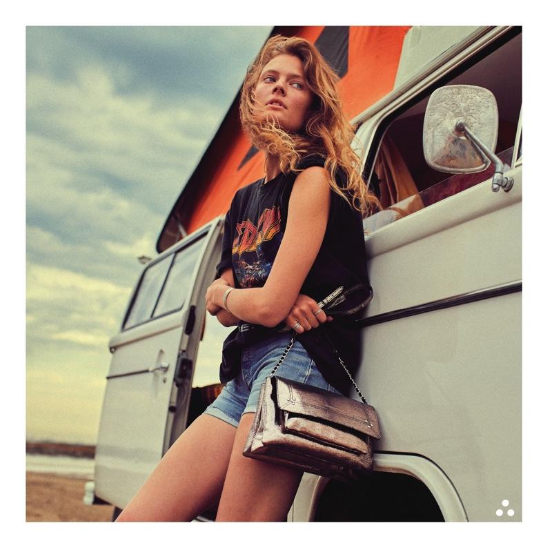 Constance Jablonski poses with metallic bag for Jerome Dreyfuss spring-summer 2021 campaign.