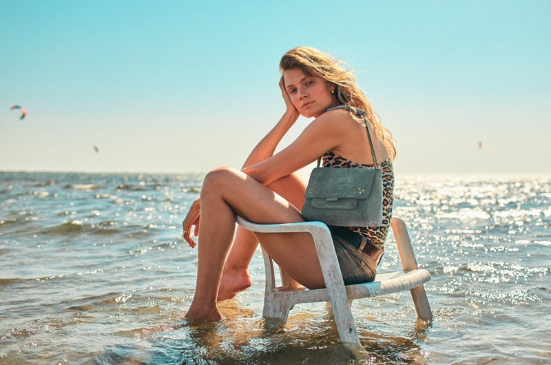Constance Jablonski poses in water for Jerome Dreyfuss spring-summer 2021 campaign.