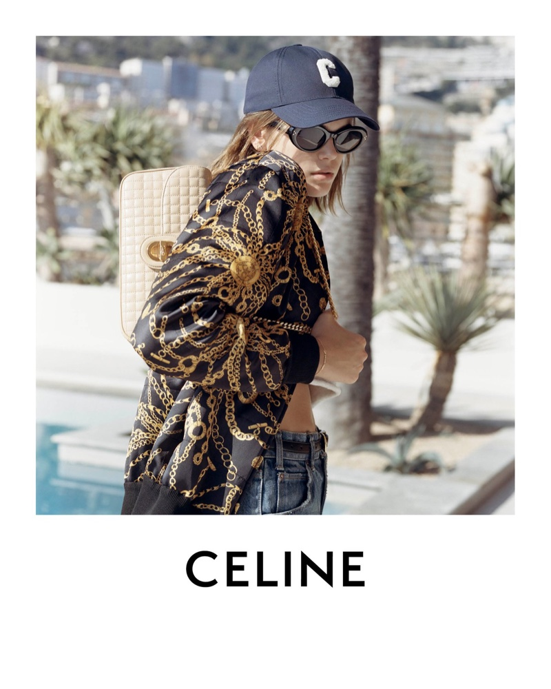 Model Kaia Gerber poses in Monaco for Celine spring-summer 2021 campaign.