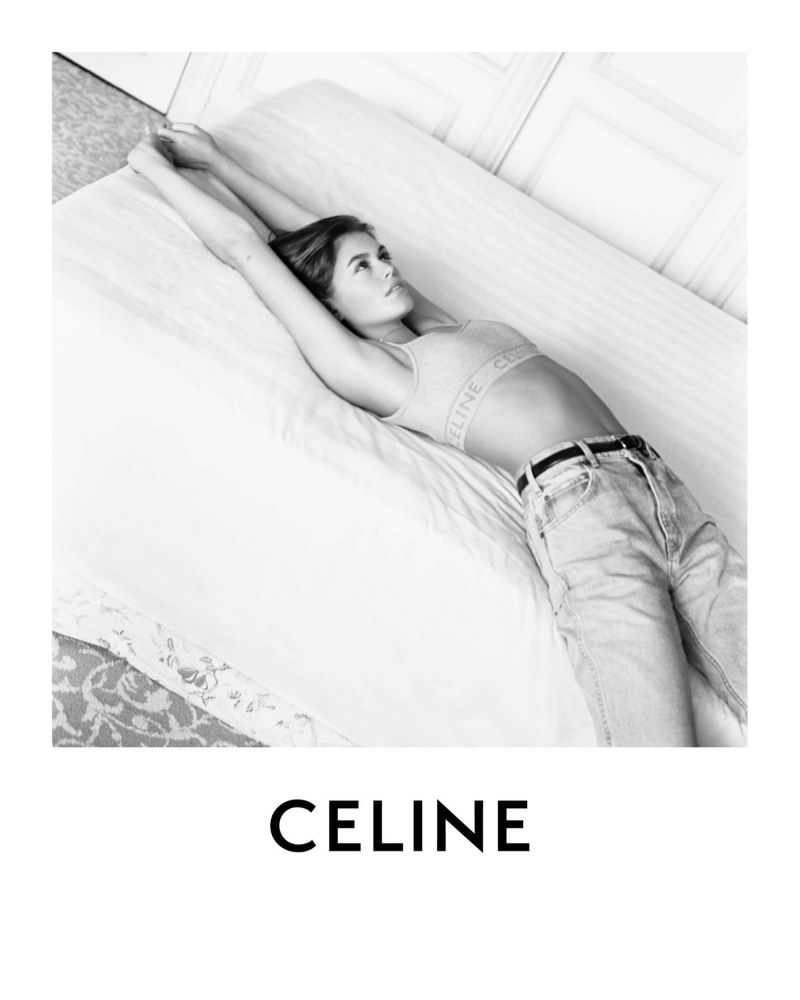 Dressed in jeans and a branded top, Kaia Gerber fronts Celine spring-summer 2021 campaign.