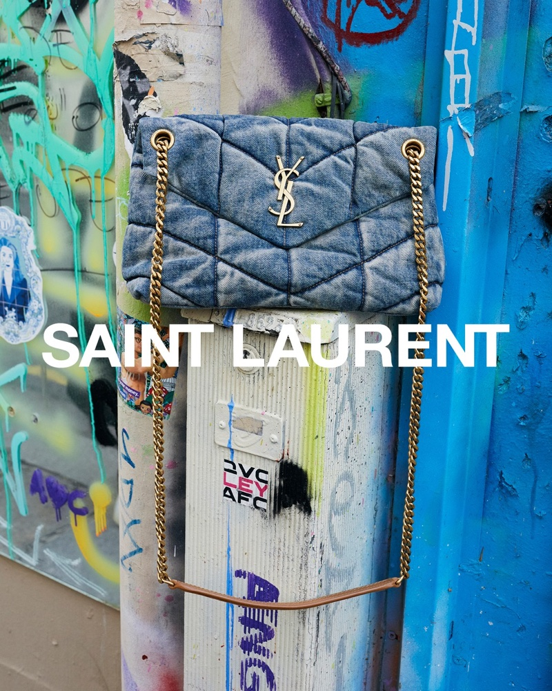 The Puffer bag featured in Saint Laurent spring 2021 campaign.