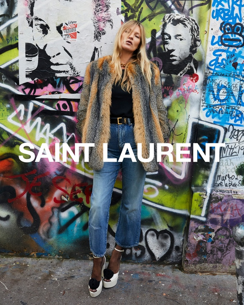 Rocking fur and denim, Kate Moss appears in Saint Laurent spring 2021 campaign.