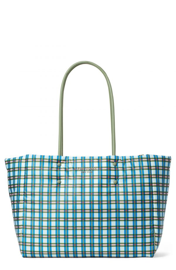 Kate Spade New York Everything Large Puffy Plaid Tote - Blue