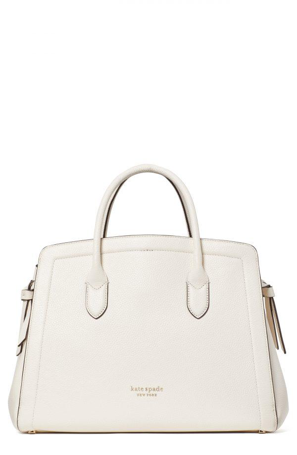 Kate Spade New York Knott Large Leather Satchel - White