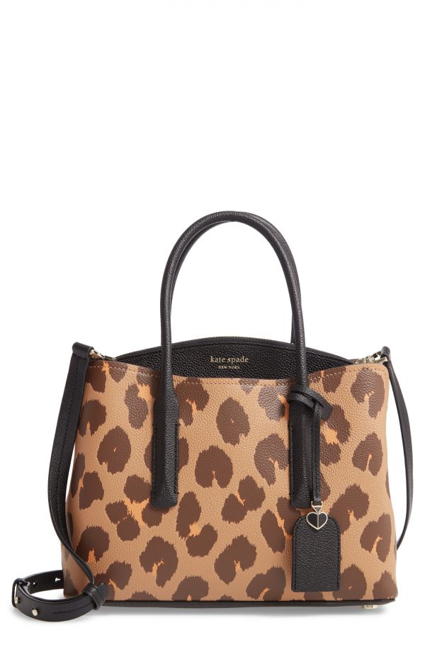 Kate Spade New York Medium Margaux Leopard Print Leather Satchel - Brown