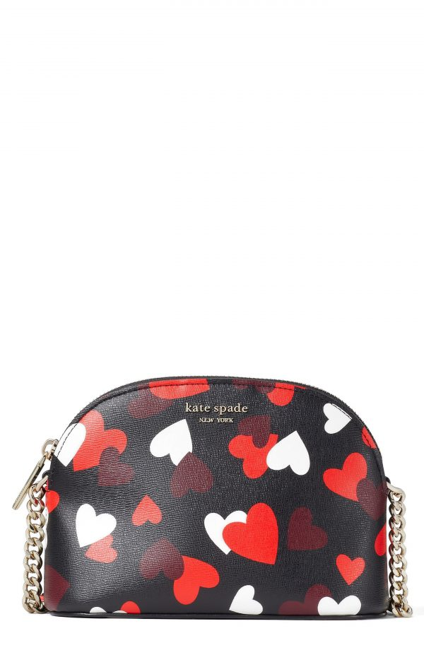 Kate Spade New York Spencer Celebration Hearts Small Leather Crossbody Bag - Black