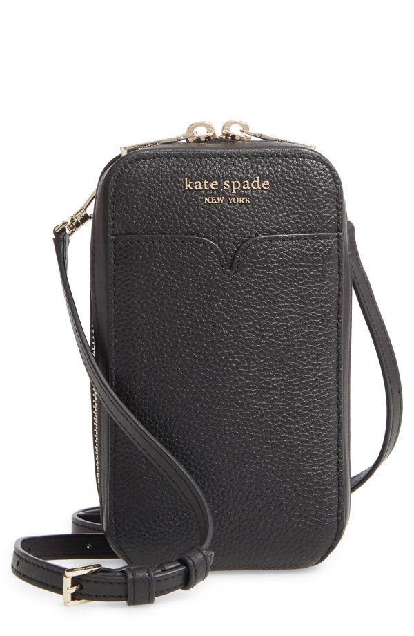 Kate Spade New York Zeezee North South Leather Phone Crossbody Bag - Black
