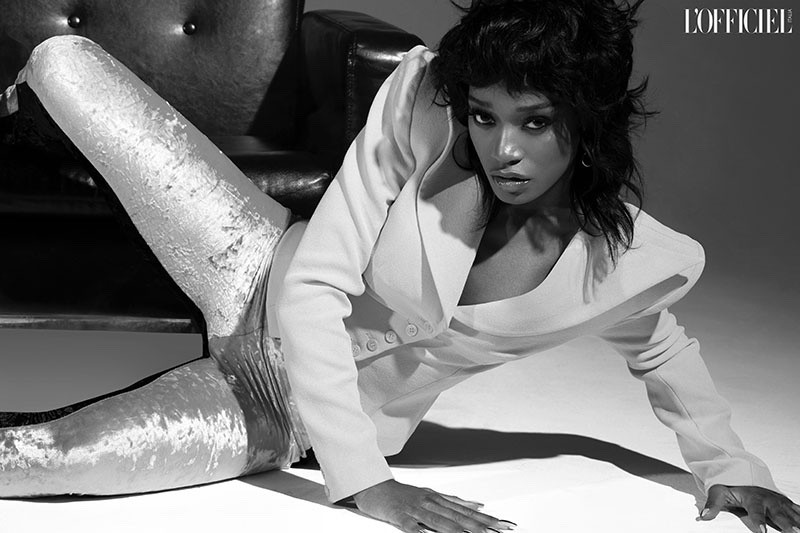 Actress Keke Palmer poses in Judy Zhang blazer, and Theo Philio pants. Photo: Quintin and Ron