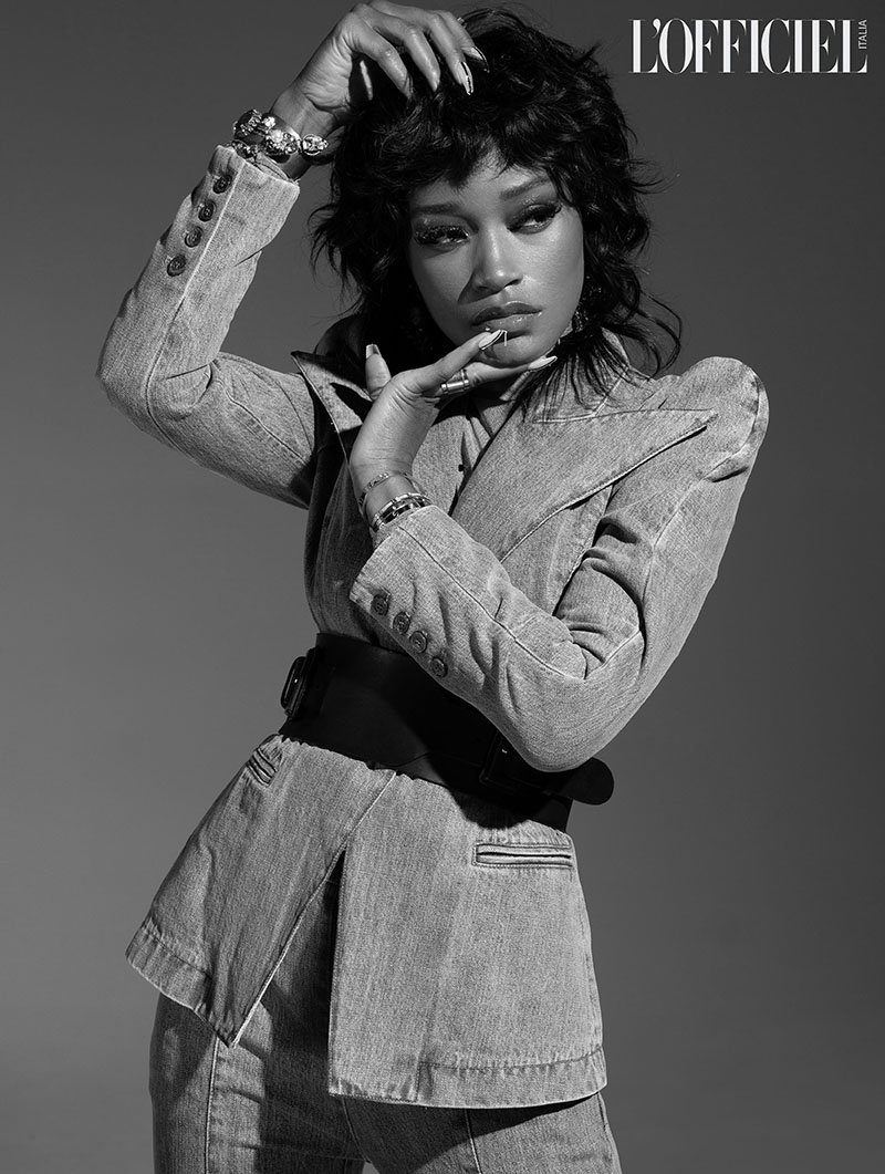 Keke Palmer wears Judy Zhang blazer and trousers with Cartier bracelet, and Erickson Beamon cuff. Photo: Quintin and Ron