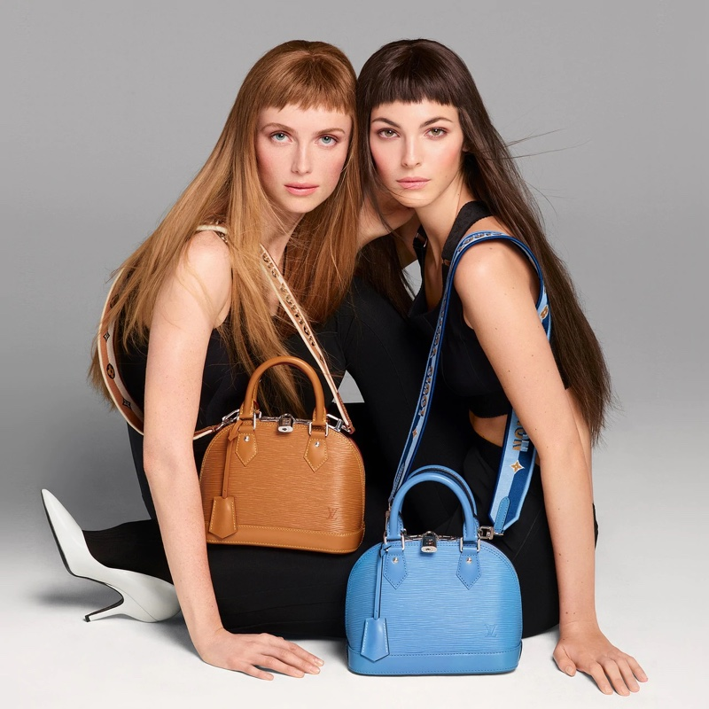 An image from Louis Vuitton's Alma BB handbag advertising campaign.
