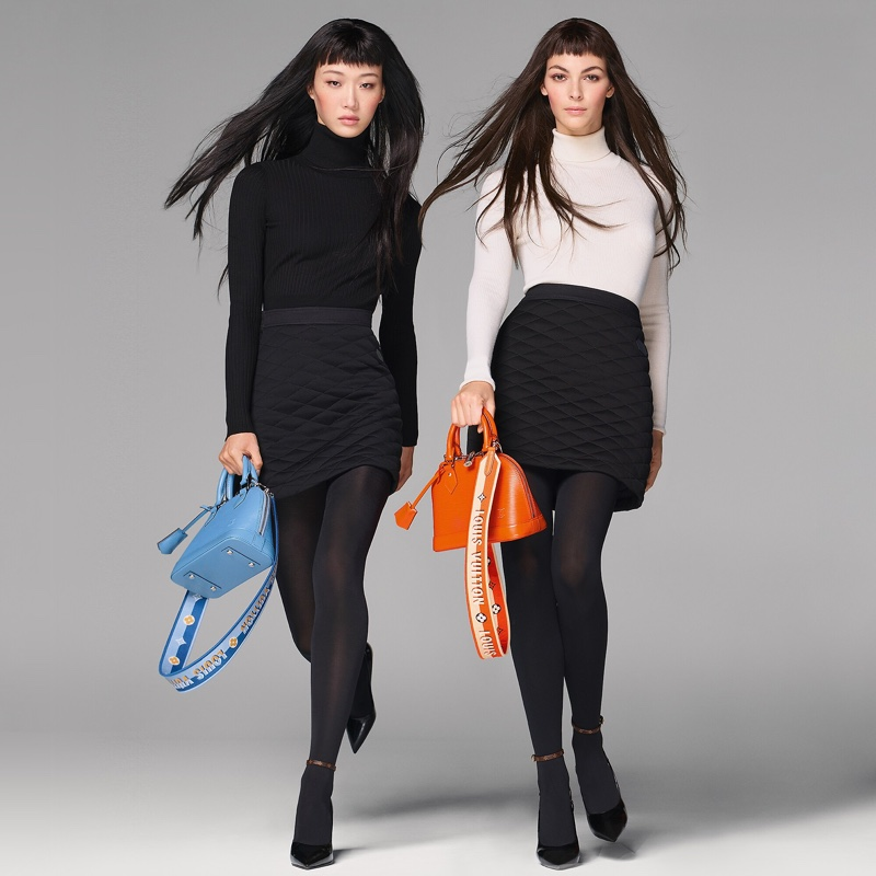 Sora Choi and Vittoria Ceretti front Louis Vuitton Alma BB handbag campaign.