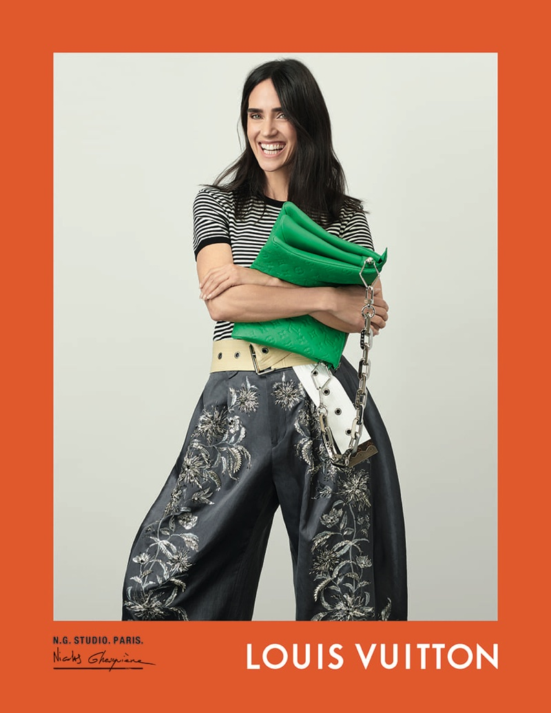 Jennifer Connelly flashes a smile in Louis Vuitton spring-summer 2021 campaign.