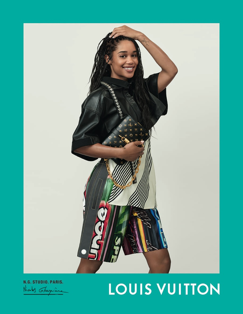 Laura Harrier poses for Louis Vuitton spring-summer 2021 campaign.