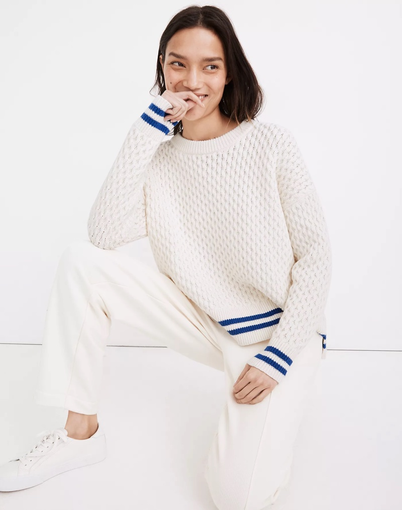 Madewell Stripe-Trim Honeycomb Pullover Sweater $98