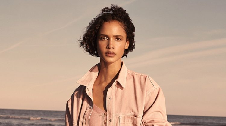 A pink style stands out in Mango Denim spring 2021 campaign.