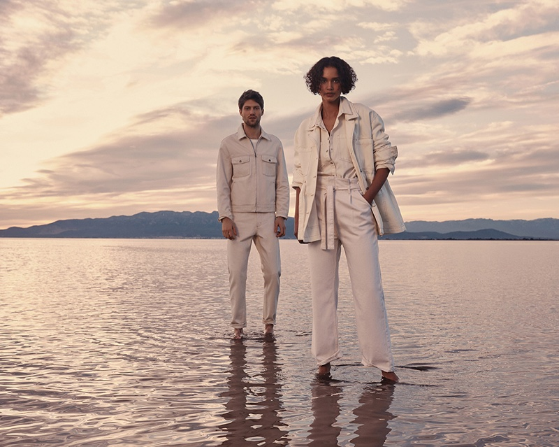 Models pose in white looks for Mango Denim spring 2021 campaign.