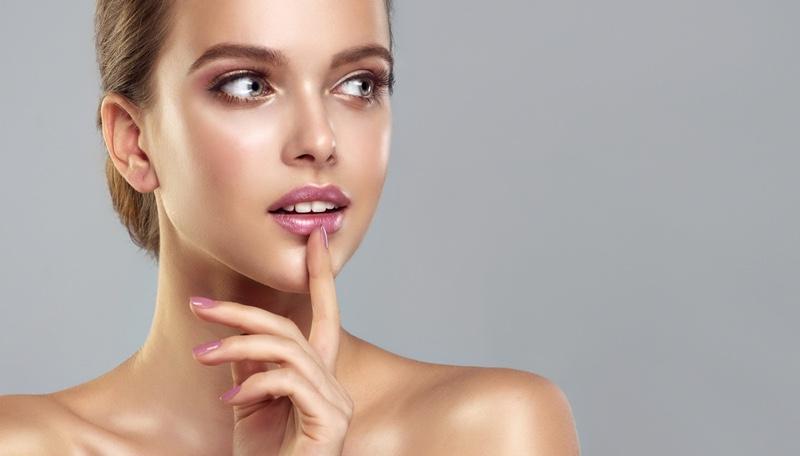 Model Beauty Pink Lips Nails Shiny Skin